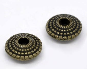x 70 beads spacer saucer metal color bronze 8 mm