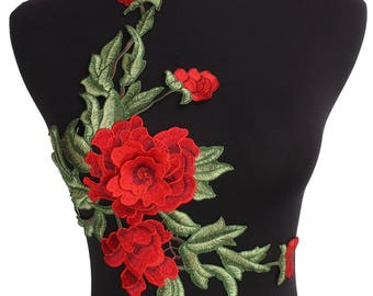 x 1 collar applique floral guipure lace 3D red sewing 42 x 23 cm W3