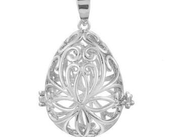x 1 pendentif cage de Bali Bola Mexicain ovale motif fleur pour bille d'Harmonie Bébé argenté 4,1 x 2,7 cm