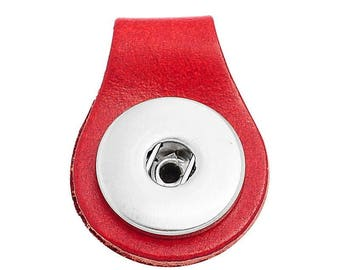 x 1 pendant red leather key fob snap 3.5 x 2.5 cm