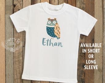Blue Owl Personalized Kids Shirt, Customized Kids Shirt, Owl Kids Shirt, Boho Kids Shirt, Hipster Kids Shirt, Boy Name Tee - T210E