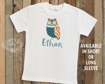 Blue Owl Personalized Kids Shirt, Customized Kids Shirt, Owl Kids Shirt, Boho Kids Shirt, Hipster Kids Shirt, Boy Name Tee - T210E