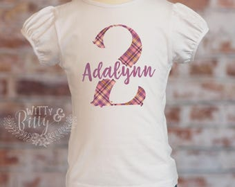 Second Birthday Plaid Puff Sleeve Shirt, Dark Purple Plaid, Personalized 2nd Birthday Outfit, Custom Birthday Top, Plaid Birthday - P431A