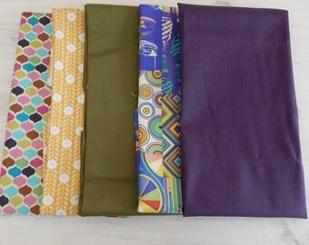 5 Fat Quarter mini bundle, Quilting fabric, Fabric