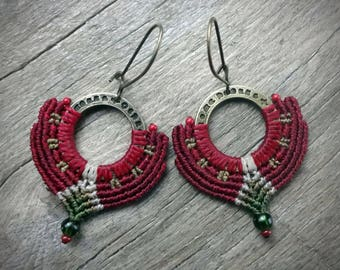macrame earrings, gipsy boho style, hematite beads, glass seed beads, handcrafted earrings, red color