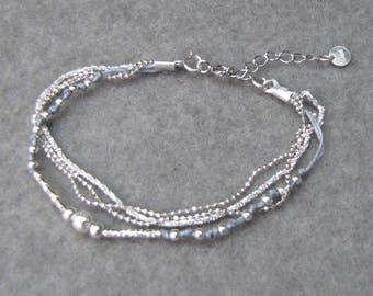 Bracelet multi-row gray silver Sterling 925