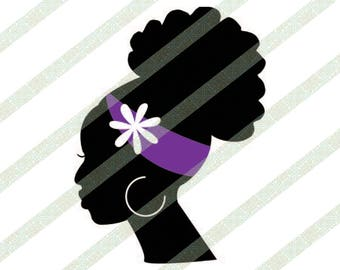 Ethnic SVG Afro Puff Black Woman Silhouette With Flower, Natural Hair, Afro SVG, Black Lady SVG, African American Woman Art