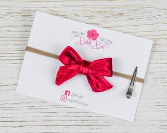 Baby Bow, Baby Headband, Red Velvet Bow, Breakaway Bow
