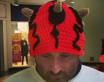 Crocheted darth maul hat