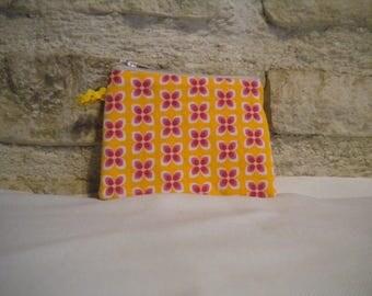 Porte monnaie tissu rétro motif fleurs