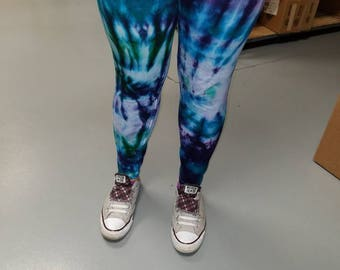 Hand Dyed Tie Dyed Leggings Custom Colors and Sizes Made To Order