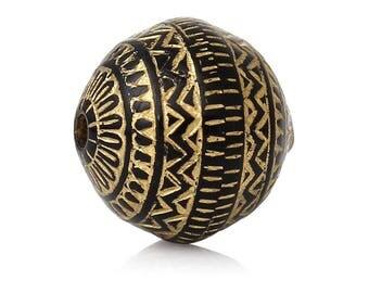 PA96 - Set of 10 beads oval shape gold matte stripes acrylic