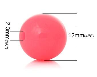 PA42 - 14 beads 12mm shamballa acrylic neon pink set