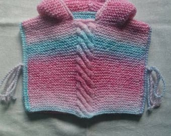 6 month multicolored wool poncho knitted by hand.