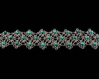 Bracelet, made with Alpaca and Malachite stones
