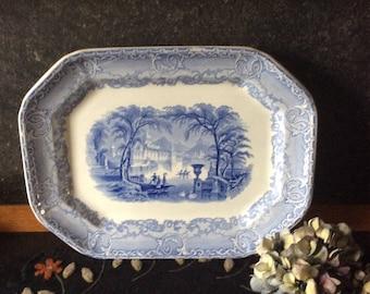 Vintage blue transferware platter