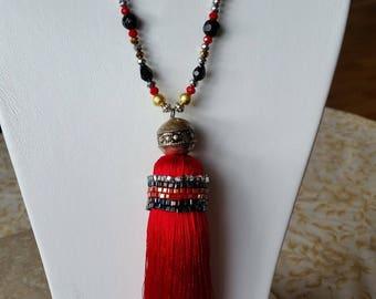 Red silk tassel necklace