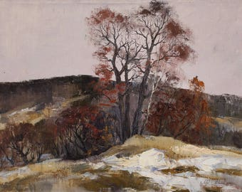 "Autumn — ORIGINAL Winter Snow Art Oil Painting On Canvas By Andrey Mirski. Size: 21"" x 27"" inches (54 cm x 70 cm)"