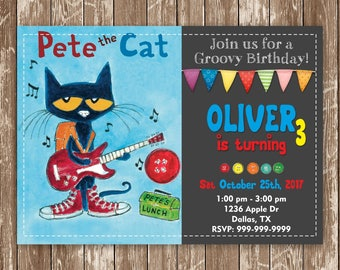 Pete the Cat Birthday Invitation, Pete the Cat  Invites, Pete the Cat Birthday Party, Pete the Cat Personalized Printable Digital File
