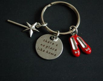 Wizard of Oz there's no place like home inspired Keychain Keyring