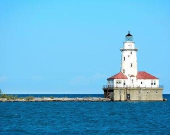 Canvas Print, Lake Michigan Lighthouse Chicago Fine Art Photography Illinois, Ocean, Chicago Harbor, Sea, Nautical Photography