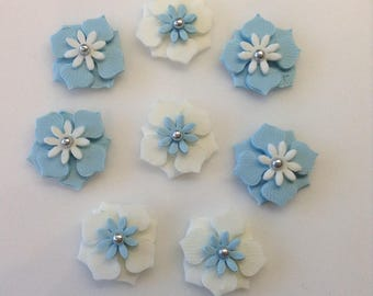 8 Edible Sugar Paste Fondant Flower & Silver Pearl Cupcake  Cake Toppers