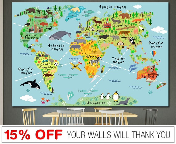 Kids world map nursery world map word map canvas world map like this item sciox Choice Image