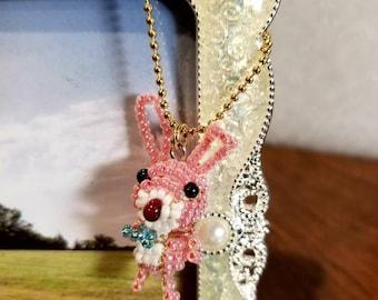 Handmade Beaded Bunny Keychain