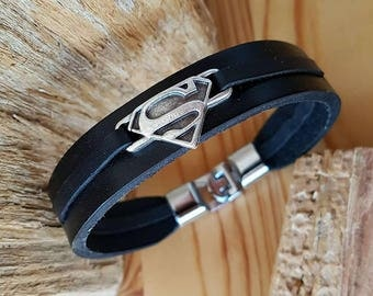 Superman Theme Man leather bracelet gift for Boyfriend Superman Bracelet for him Gift for men Bracelet for birthday gift