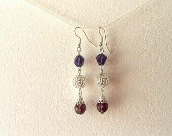 Fancy silver and purple earrings