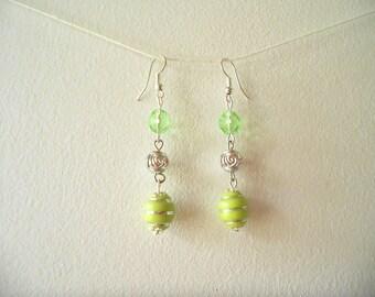 Fancy green and Silver earrings
