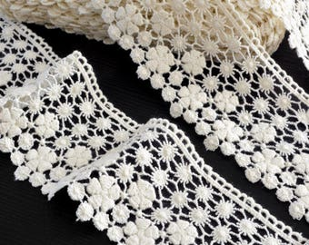 Haberdashery cotton guipure lace edge ecru width 6cm x 1 meter