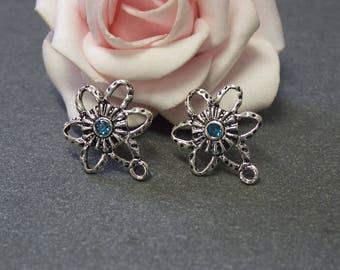 x 6 blank Stud Earrings silver metal flower antiqued BO28