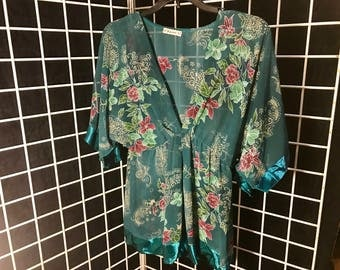 Sheer Floral Green Woman's Top