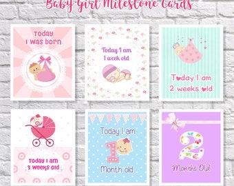 Baby Milestone Cards Girl - Baby Girl Miletone Cards - Baby Cards - Cute Baby Cards - Baby First Moments