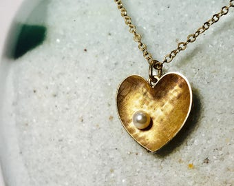 Vintage Krementz Signed Heart Gold Overlay Pendant with Cultured Pearl | Free Shipping