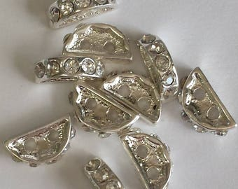 10 clips silver rounded Crystal rhinestones - 13x8mm
