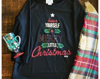 Have Yourself a Merry Little Christmas Sweater / Buffalo Plaid / Christmas Tree / Star / Mistletoe / Top / Soft / Shirt / FREE SHIPPING