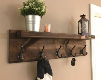 Tyler Entryway Coat Rack with Large Shelf. Wall Decor 5 Hooks Coat Hanger 32 inches