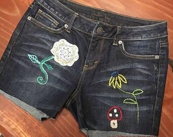 Denim short shorts