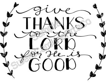 Give Thanks Digital Print | Hand Lettering | Calligraphy Print