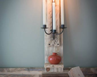 Handmade Rustic Wooden Sconce & Shelf - Wall Mounted Candle With Shelf