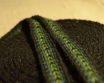 Handwoven belt / Tablet woven trim / Medieval card weaving / Black blue green strap / Unisex belt / 16 mm woven strap / 100% wool