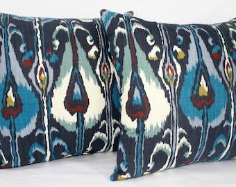 """20 x 20"""" Ikat Pillow Cover - Designer Fabric - Robert Allen - Indigo Ikat - Ikat Throw Pillow - Ikat Accent Pillow"""
