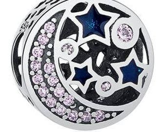Genuine Sterling Silver Charm - Moon and the Stars - CZ Bead Charm - Fits European and Pandora Charm Bracelet