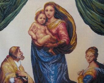 Cross stitch the Sistine Madonna handmade work