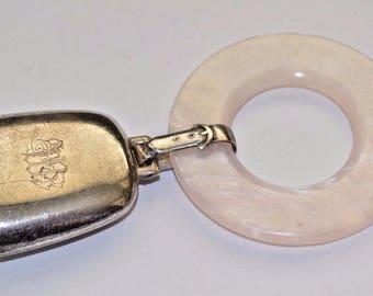 Vintage Sterling Silver Baby Rattle Teething Ring