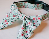 Girly bow dog collar, teal and pink calico floral dog collar, blue dog bow