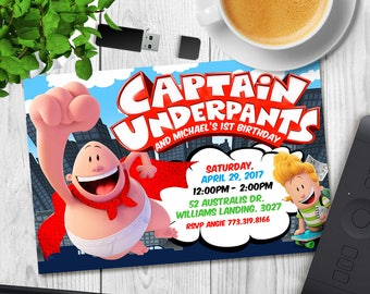 Captain Underpants Invitation, Captain Birthday Invitations, Underpants Movie Party, Printable Invite, Card Printables, Superhero Invites
