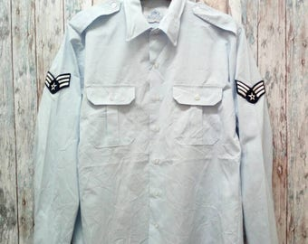 Vintage Shirt Man's Long Sleeve Polyester/Cotton Blue 1550 Army Navy
